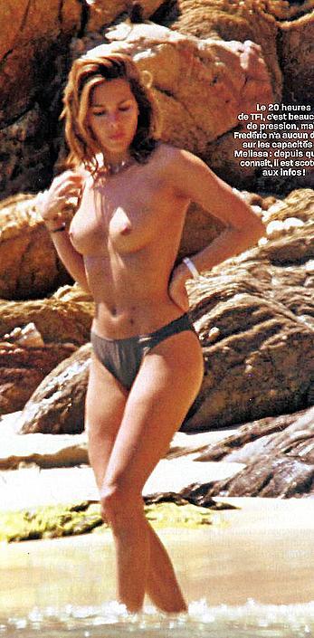 Melissa Theuriau sunbathing topless paparazzi shots