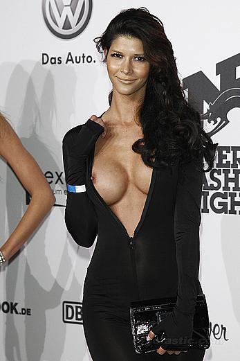 Micaela Schaefer exposed her boobs at We Love Energy fashion night in Berlin