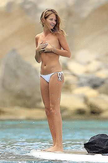 Millie Mackintosh topless on a yacht in Ibiza