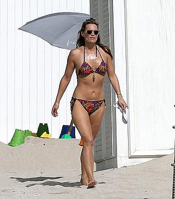 Molly Sims wearing a bikini in Miami