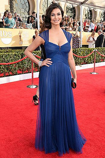 Morena Baccarin shows sexy cleavage at 20th Annual Screen Actors Guild Awards at The Shrine Auditorium in Los Angeles