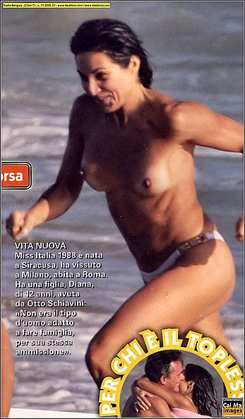 Nadia Bengala topless in white bikini panties