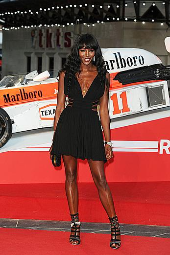 Naomi Campbell long sexy legs at Rush World Premiere in London