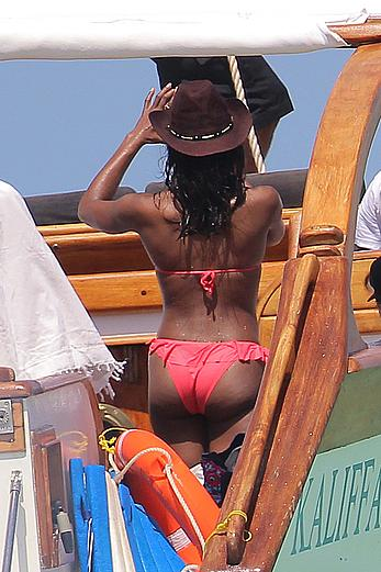 Naomi Campbell on a boat ride in Kenya
