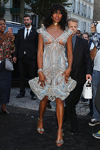 Black Naomi Campbell in see through dress