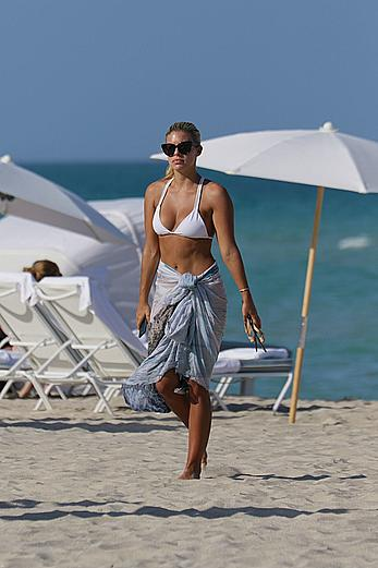 Natasha Oakley in white bikini at a beach in Miami