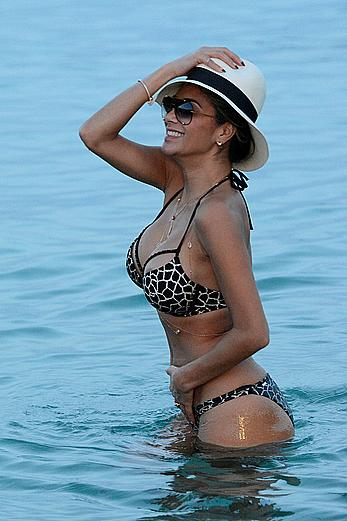 Nicole Scherzinger nipple slip on a beach in Mykonos