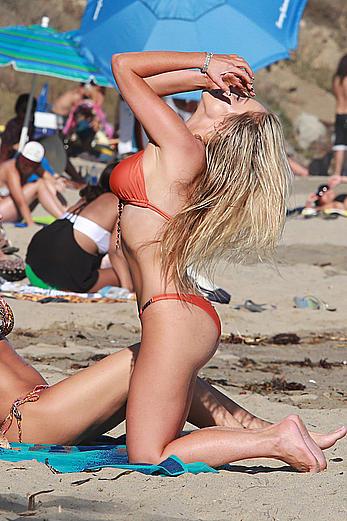 Nikki Lund in red bikini candids in Malibu