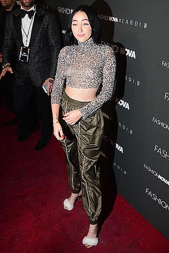 Noah Cyrus braless in see through top at Fashion Nova x Cardi B Collaboration Launch event