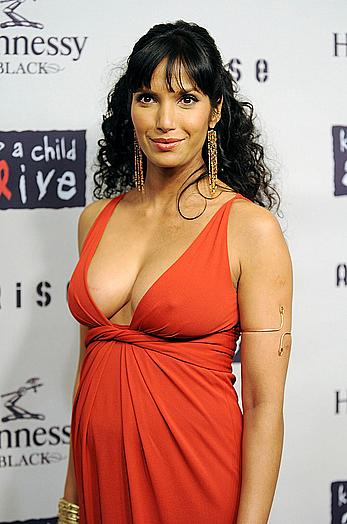 Pregnant Padma Lakshmi in red dress shows deep cleavage and hard nipples