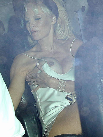 Pamela Anderson nipslip at the Chateau Marmont in West Hollywood