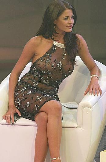 Busty Pamela David braless in see through dress at TV Show