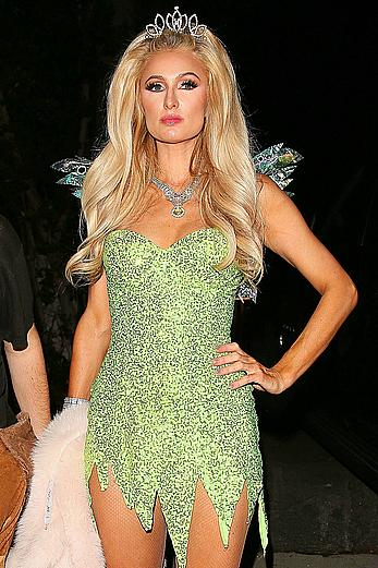 Paris Hilton shows her long lesg at Halloween party