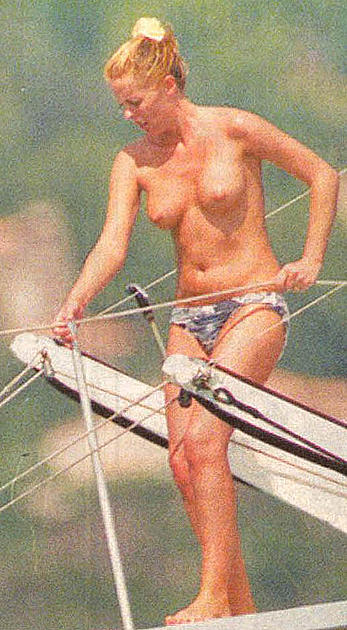 Patsy Kensit topless on a yacht and beach