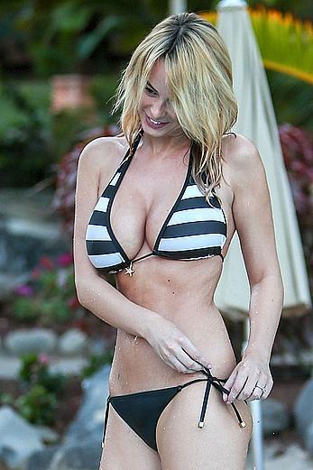 Rhian Sugden sexy in bikini at a pool