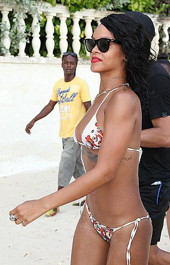 Rihanna at the beach doing a photo shoot in Barbados