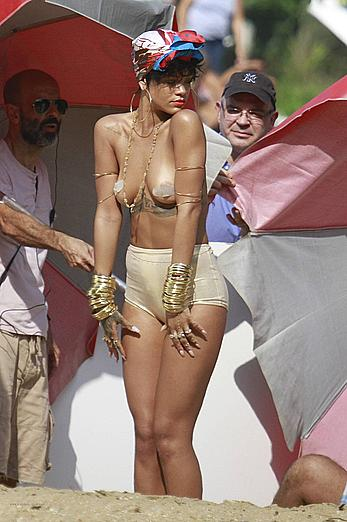 Rihanna topless with pasties during photoshoot in Brasil