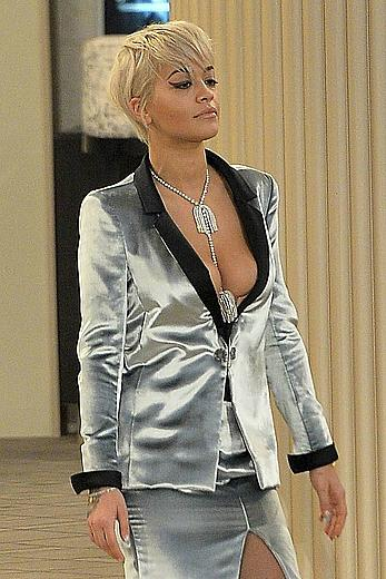 Rita Ora nipslip and cleavage at Chanel fashion show at Fashion Week