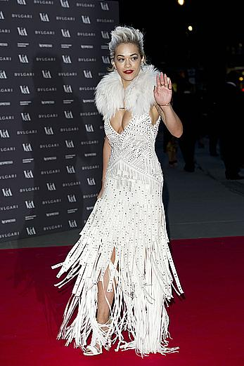 Rita Ora slight cleavage at The Glamour Of Italian Fashion Private Dinner in London