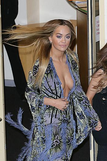 Rita Ora tit slip leaving X Factor studios in London