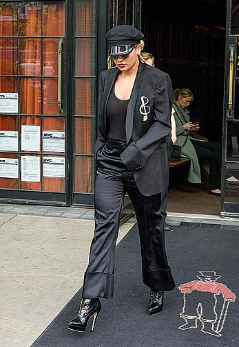Rita Ora in see through black top in NYC