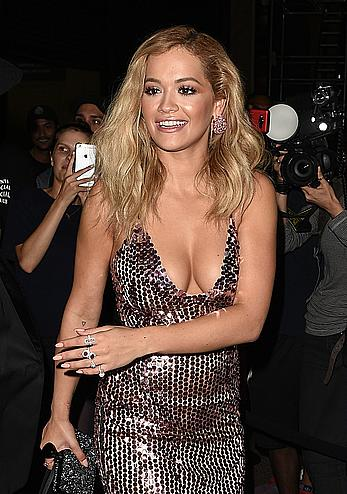 Rita Ora cleavage at New York Fashion Week Tom Ford show