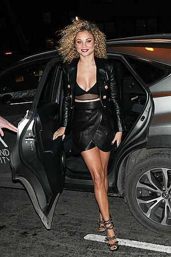 Rose Bertram upskirt at SI Swimsuit 2015 Swim City Celebration in NYC