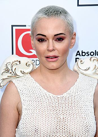 Rose McGowan without bra in see through dress at The Q Awards 2019