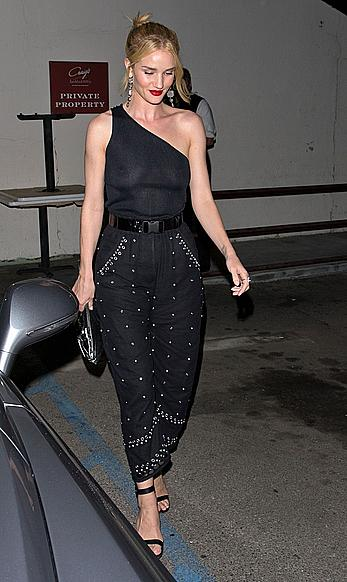 Rosie Huntington-Whiteley braless in see through top