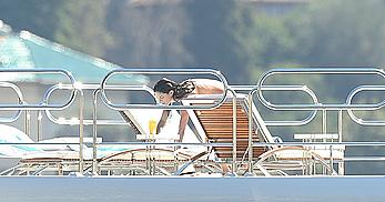 Sara Sampaio tanning topless on a yacht in St. Tropez