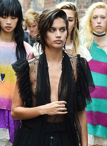 Sara Sampaio wears a see through black dress at the Zadig & Voltaire SpringSummer 2018
