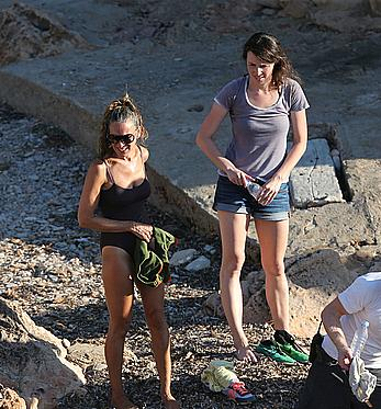 Sarah Jessica Parker in a swimsuit on a beach & yacht in Ibiza