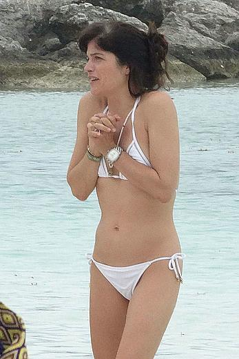 Selma Blair in white bikini in Cancun