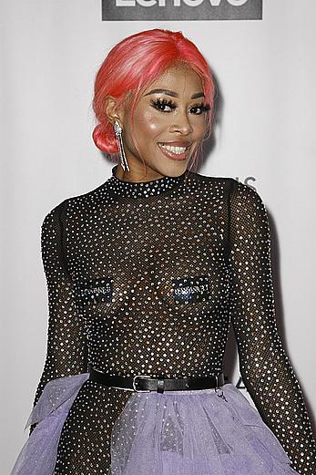 Singer Maya B covered her small tits with pasties at the Universal Music Group Hosts 2020 Grammy After Party