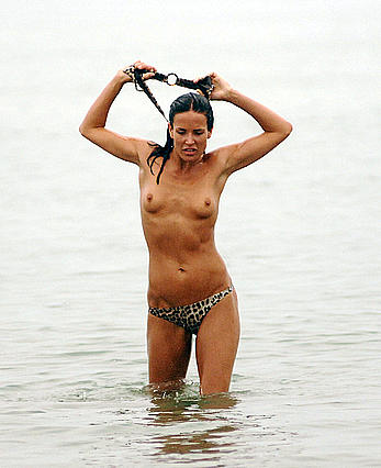 Sophie Anderton swimming topless in Venice