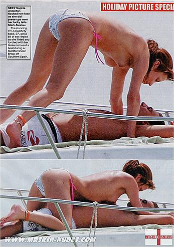 Sophie Anderton topless on a yacht