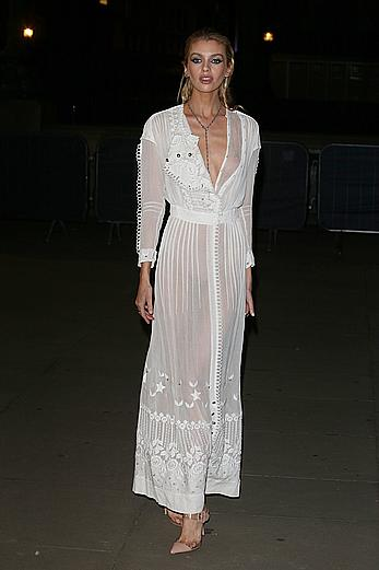 Stella Maxwell tit slip in see through dress at Fashion for Relief in London