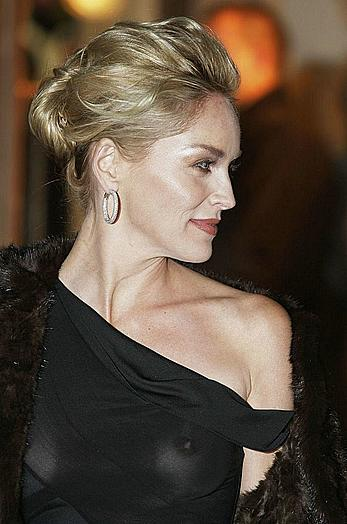 Sharon Stone in see through top