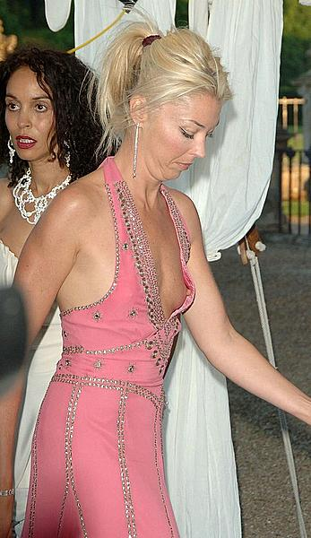 Tamara Beckwith nipple slip in pink dress
