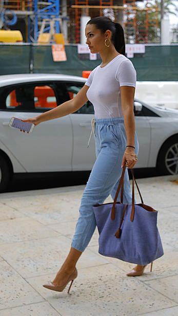 Tao Wickrath in see through white top in Miami