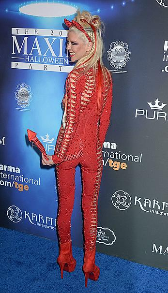 Tara Reid in see through red Devil costume at Maxim Halloween party