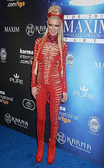 Tara Reid in see through red Devil costume at Maxim Halloween party