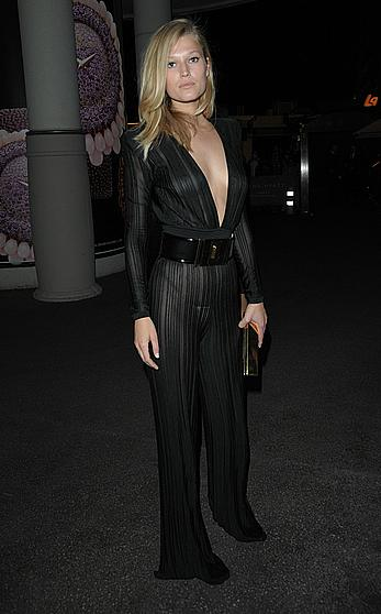 Toni Garrn nude tits under see through top arrives for Chopard-Annabel s in Cannes party