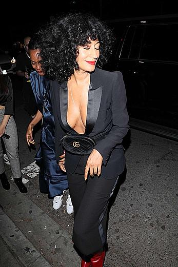 Tracee Ellis Ross downblouse atr Drake's Birthday party