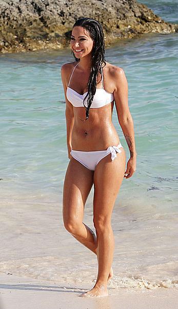 Tulisa Contostavlos in white bikini in Bermuda