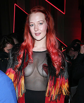 Victoria Clay braless with pasties in see through top