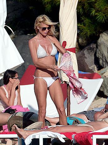 Victoria Silvstedt sexy in white bikini in St. Barts