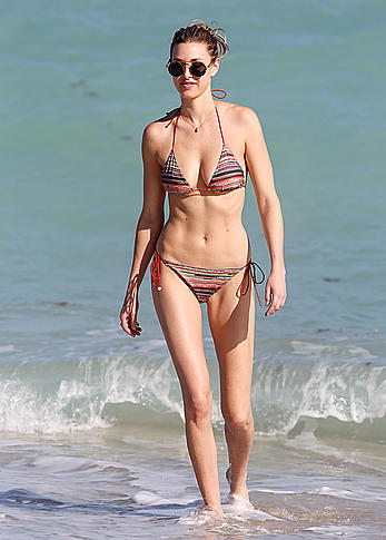 Whitney Port cleavage in bikini candids