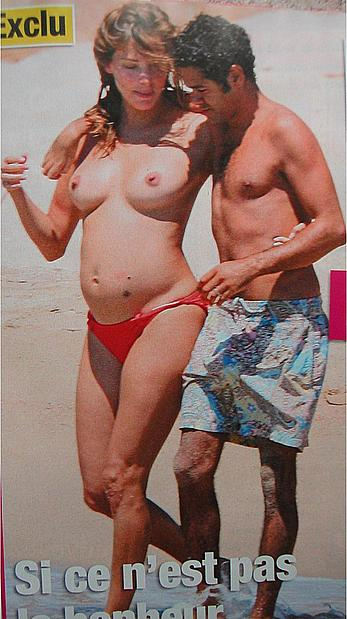 Pregnant Melissa Theuriau caught topless