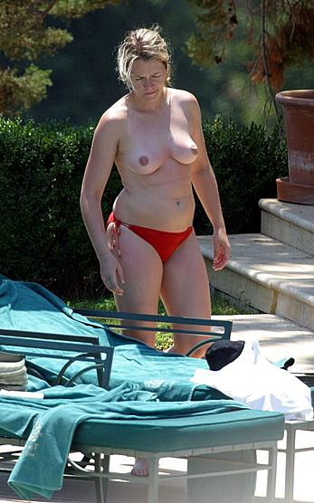 Edith Bowman sunbathing topless in red pants